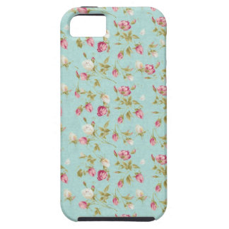 Vintage floral pattern roses blue shabby rose chic iPhone SE/5/5s case