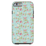 Vintage floral pattern roses blue shabby rose chic tough iPhone 6 case