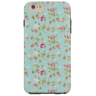 Vintage floral pattern roses blue shabby rose chic tough iPhone 6 plus case