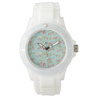 Vintage floral pattern roses blue shabby rose chic wrist watch