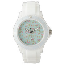 Vintage floral pattern roses blue shabby rose chic wristwatch