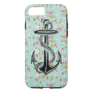 Vintage floral pattern roses shabby rose anchor iPhone 7 case