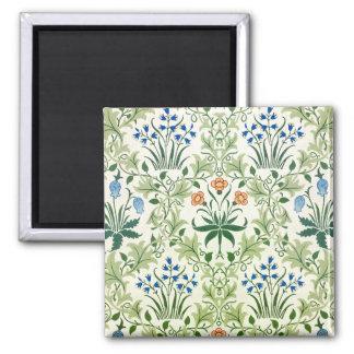 Vintage Floral Pattern William Morris 2 Inch Square Magnet