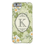 Vintage Floral Pattern with Antique Frame Monogram Barely There iPhone 6 Case