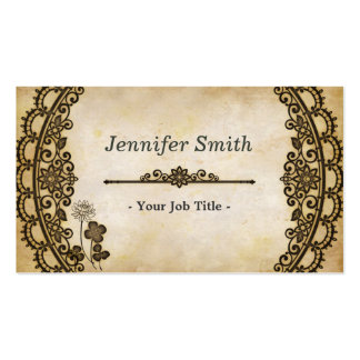 Vintage Floral Pattern with Antique Old Paper Business Card