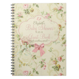 Vintage Floral Peach Bow Baby Shower Guest Book- Notebooks