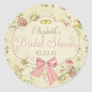 Vintage Floral Peach Bow Bridal Shower Classic Round Sticker