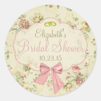Vintage Floral Peach Bow Bridal Shower Classic Round Sticker