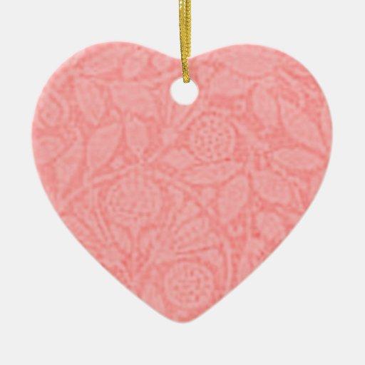 Vintage Floral Peach Heart Ornament
