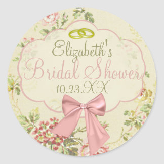 Vintage Floral Peach Wedding or Bridal Shower Classic Round Sticker