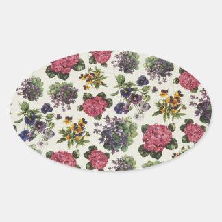 Vintage floral pegatina ovalada