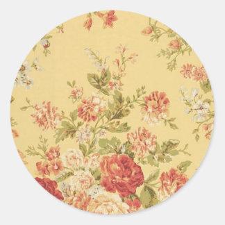 vintage floral pegatina redonda