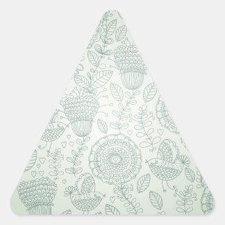 Vintage floral pegatina triangular