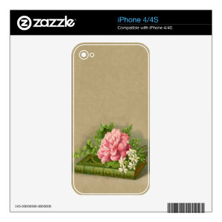 Vintage Floral Peony Classy Book Elegant Skin For iPhone 4