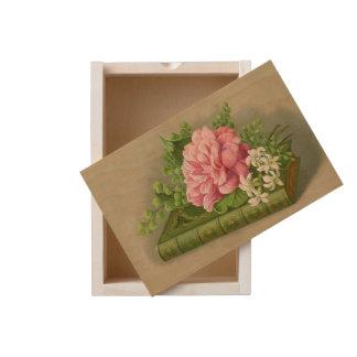 Vintage Floral Peony Classy Book Elegant Wooden Keepsake Box
