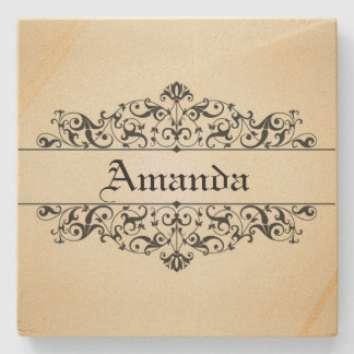 Vintage Floral Personalized Stone Beverage Coaster