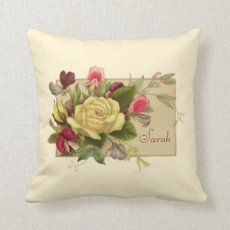 Vintage Floral Personalized Pillow