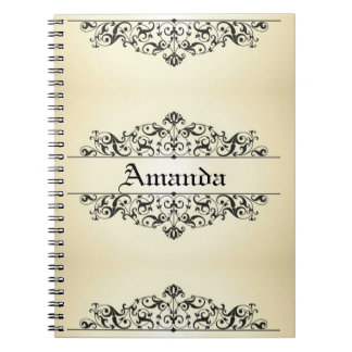 Vintage Floral Personalized Spiral Note Book