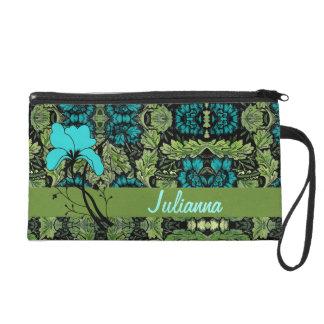 Vintage Floral Personalized Wristlet Bag