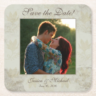 Vintage Floral Photo Save the Date Square Paper Coaster