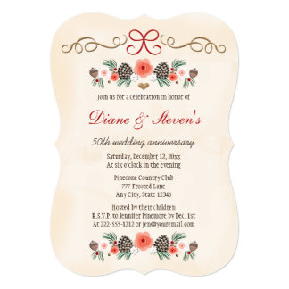 VINTAGE FLORAL PINE CONE CHRISTMAS ANNIVERSARY 5X7 PAPER INVITATION CARD