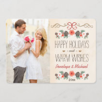 Vintage Floral Pine Cone Photo Holiday Card