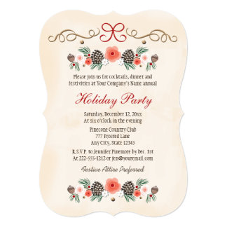 Vintage Floral Pinecone Business Holiday Party 5x7 Paper Invitation Card