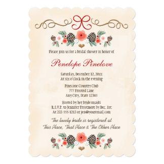 Vintage Floral Pinecone Christmas Bridal Shower 5x7 Paper Invitation Card