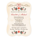 Vintage Floral Pinecone Christmas Couples Shower Card