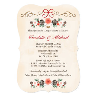 Vintage Floral Pinecone Christmas Couples Shower 5x7 Paper Invitation Card
