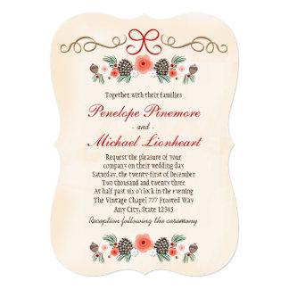 Vintage Floral Pinecone Christmas Wedding Invitation