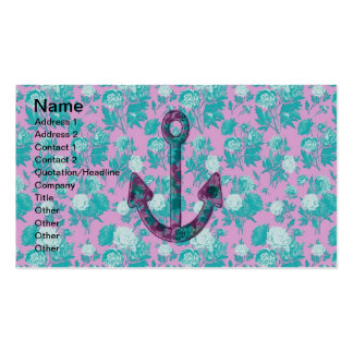 Vintage Floral Pink and Blue Anchor Business Card Templates