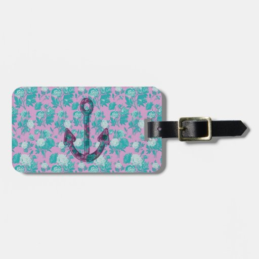 Vintage Floral Pink and Blue Anchor Tags For Luggage