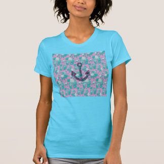 Vintage Floral Pink and Blue Anchor T-Shirt