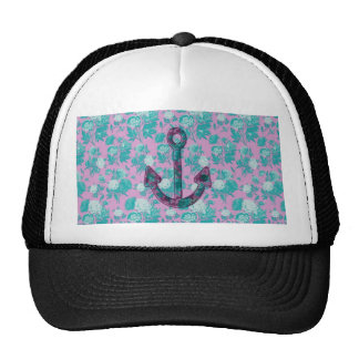 Vintage Floral Pink and Blue Anchor Trucker Hat