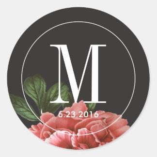 Vintage Floral | Pink Black & White Classic Round Sticker