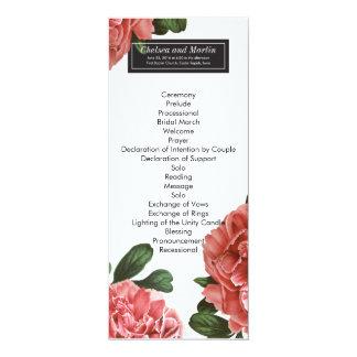 Vintage Floral | Pink Black & White Program 4x9.25 Paper Invitation Card