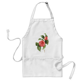 Vintage Floral, Pink Camellia Flowers by Redoute Adult Apron