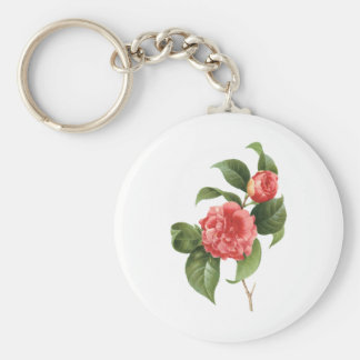 Vintage Floral, Pink Camellia Flowers by Redoute Keychain