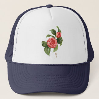 Vintage Floral, Pink Camellia Flowers by Redoute Trucker Hat