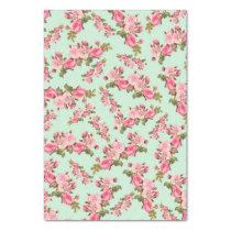 Vintage Floral Pink Camellia Flowers Luxury Tissue Paper