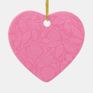 Vintage Floral Pink Rose Heart Ornament