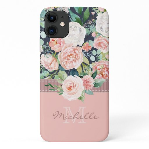 Vintage Floral Pink Rose Monogram Name iPhone 11 Case