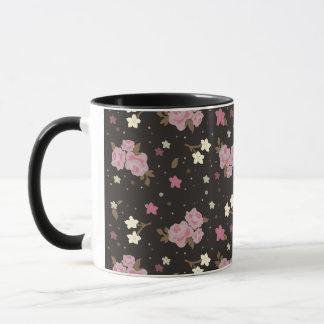 Vintage Floral Pink Roses on dark brown Mug