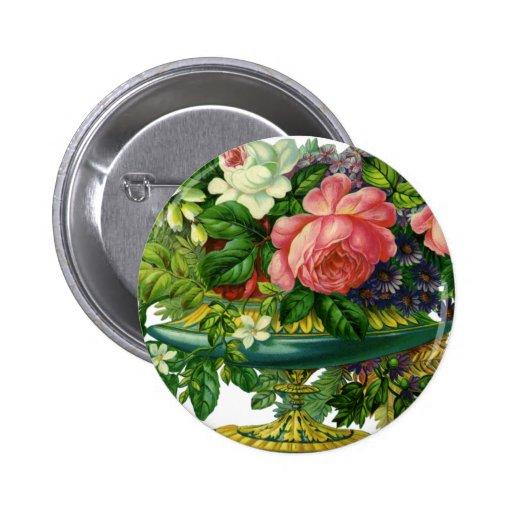 Vintage Floral Pink Roses, Vase of Flowers Pinback Button