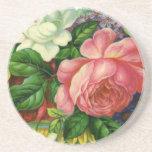 Vintage Floral Pink Roses, Vase of Flowers Coasters