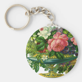 Vintage Floral Pink Roses, Vase of Flowers Basic Round Button Keychain