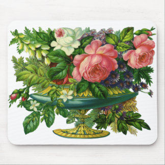 Vintage Floral Pink Roses, Vase of Flowers Mouse Pad
