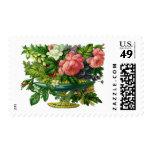 Vintage Floral Pink Roses, Vase of Flowers Stamp
