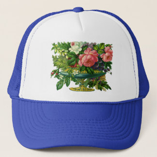 Vintage Floral Pink Roses, Vase of Flowers Trucker Hat